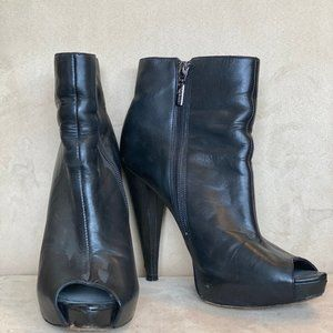 Report Signature Black Leather Booties. Size 7.5